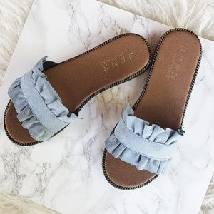Suede Denim Style Ruffle Flat Sandals